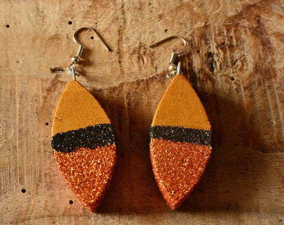 "Modern style ""Gold"" balsa wood earrings."