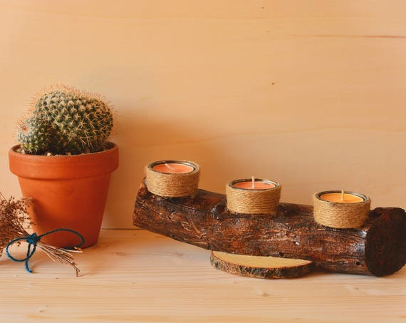 "Rustic style ""Log"" wooden candle holder."