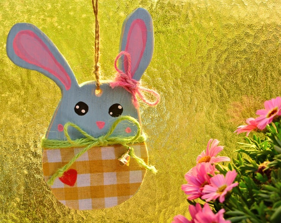 """Wooden rustic style """"Bunny"""" ornaments."""