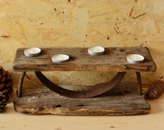 "Rustic style ""Old Farmstead"" wooden candle holder."