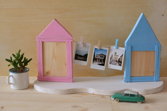 "Minimal style ""Cotton Candy Village"" wooden photo holder."