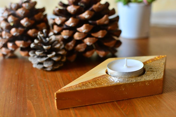 "Minimal style ""Comet"" wooden candle holder."