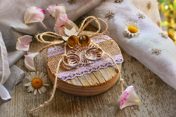 "Rustic wood wedding ring holder ""Provence""."