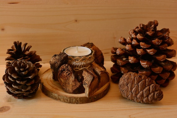 "Natural/rustic style ""Woods"" wooden candle holder."