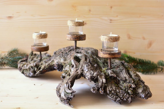 "Rustic style ""Monte Titano"" wooden candle holder."
