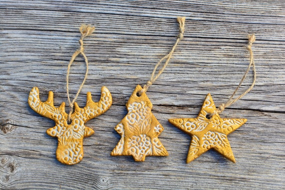Set of 3 shabby style polymer clay Christmas decorations.