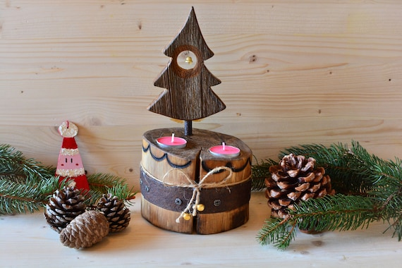 "Rustic style ""Xmas cake"" wooden candle holder."