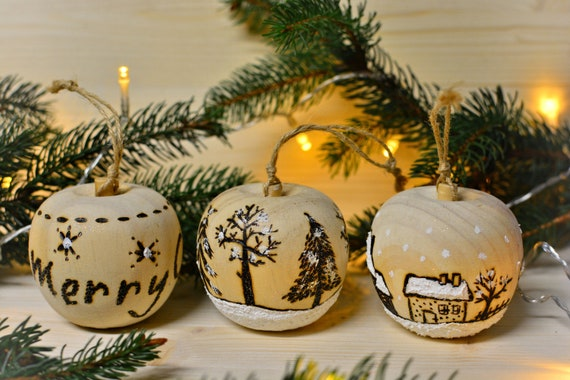 "Rustic style ""Christmas apple"" wooden ornaments."