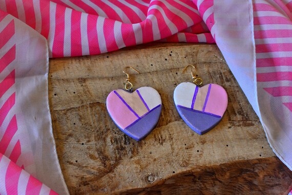 "Polymer clay ""Purple Hearts"" earrings."