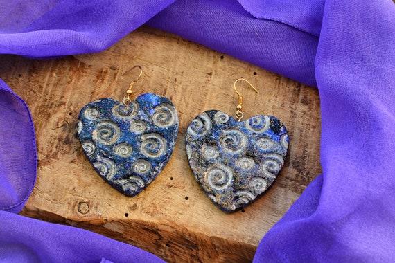 "Polymer clay ""Luna"" earrings."