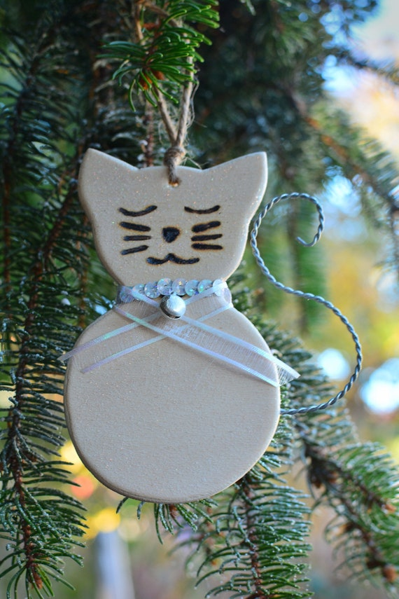 "Wooden glitter ""Kitty"" ornaments."