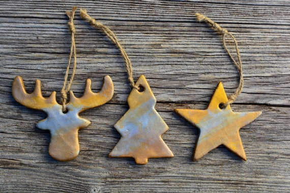 Set of 3 minimal style polymer clay Christmas decorations.