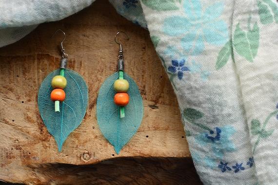 """Boho """"Blue leaf"""" earrings."""
