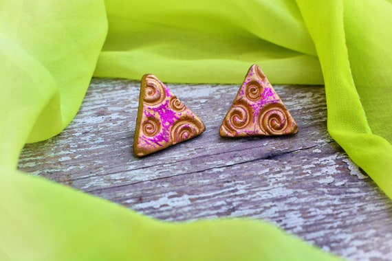 "Polymer clay ""Warm"" earrings."