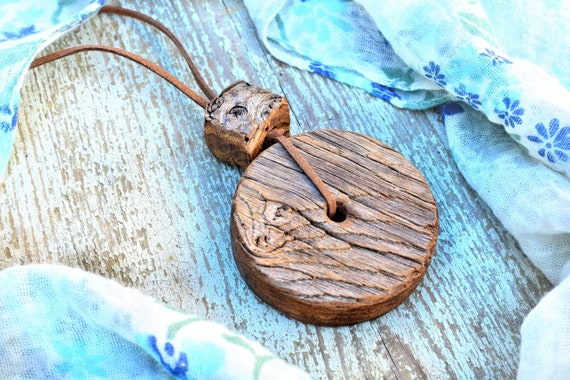 Campagna upcycled wood necklace.