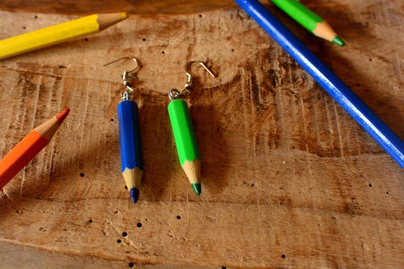 Wooden upcycled colored pencils earrings.