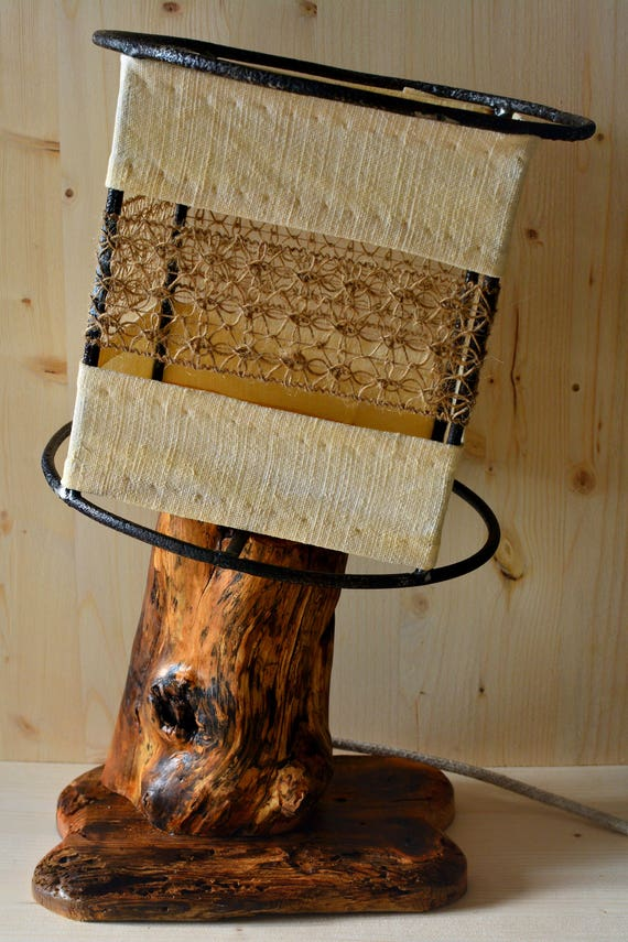 Old countryside rustic/country style wooden table lamp.