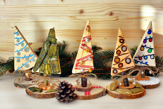 Decorative wooden miniature Christmas trees.