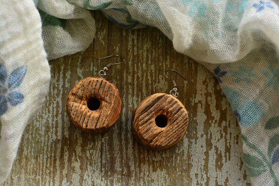 Campagna upcycled wood earrings.