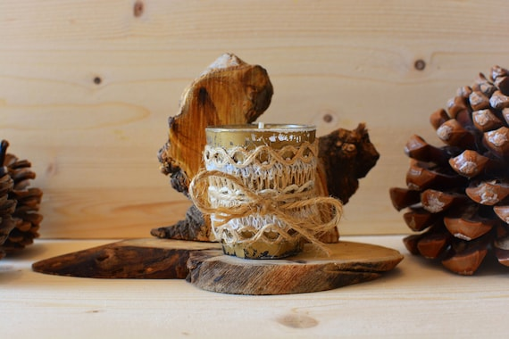 "Shabby/rustic style ""Antique gold"" wooden candle holder."