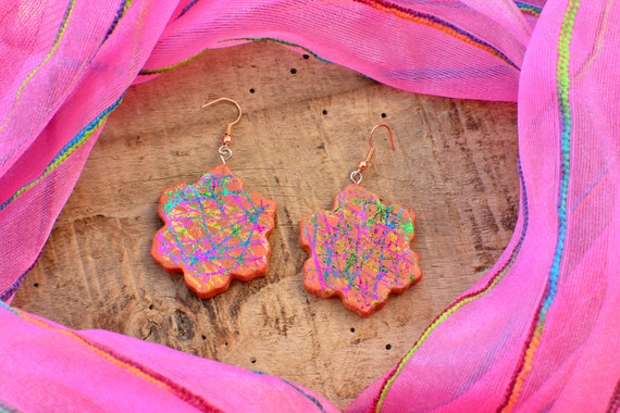 "Polymer clay ""Terracotta Carnival"" earrings."