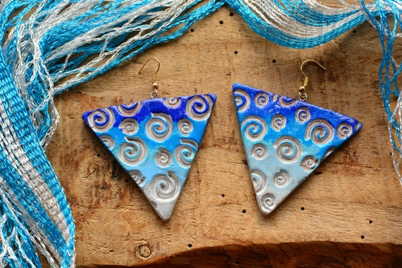 "Polymer clay ""Waves"" earrings."