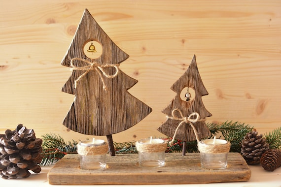 "Rustic style ""Xmas forest"" wooden candle holder."