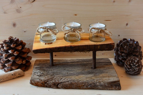 "Rustic style ""Old Countryside"" wooden candle holder."