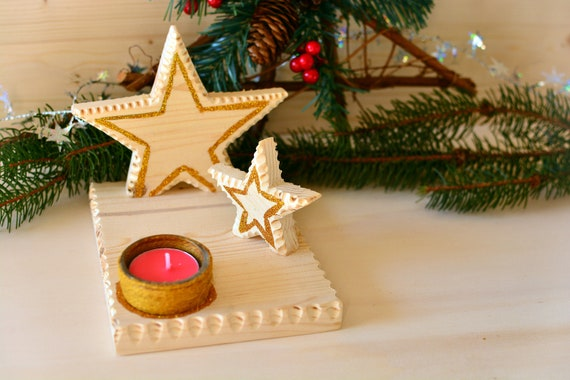 "Wooden rustic/minimal style ""Stars"" candle holder."