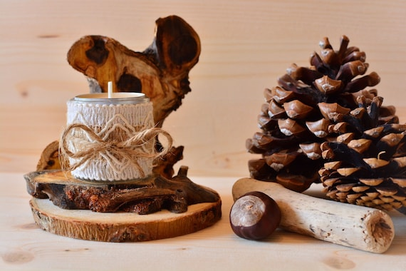 "Wooden natural/rustic style ""Forest"" candle holder."