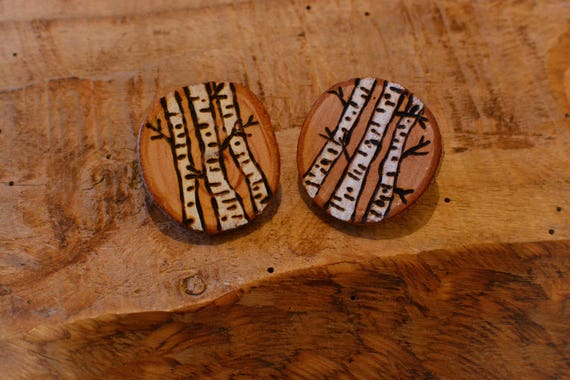 Birches natural style wooden clip earrings.