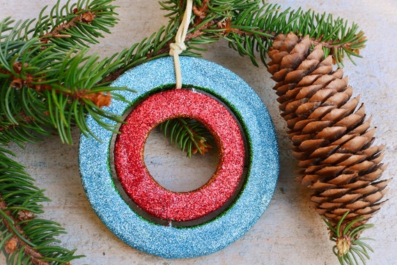 Glitter wooden Christmas ornaments.