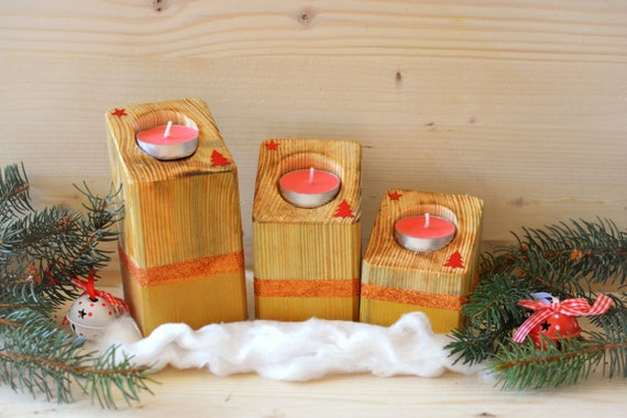 "Set of 3 wooden rustic/minimal style ""Shiny Xmas"" candle holders."