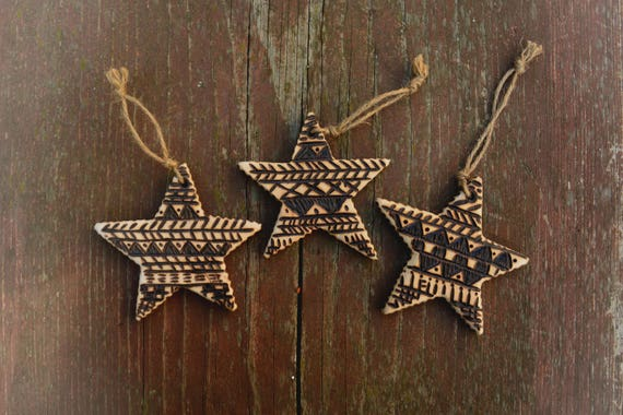 "Set of 3 rustic style ""Little Stars""  balsa wood ornaments."