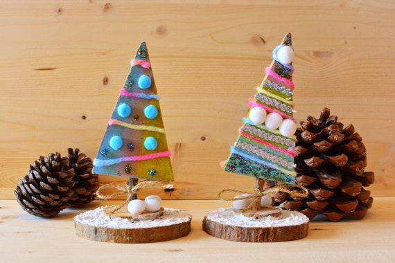 "Decorative upcycled wood ""Candy"" miniature Christmas trees."