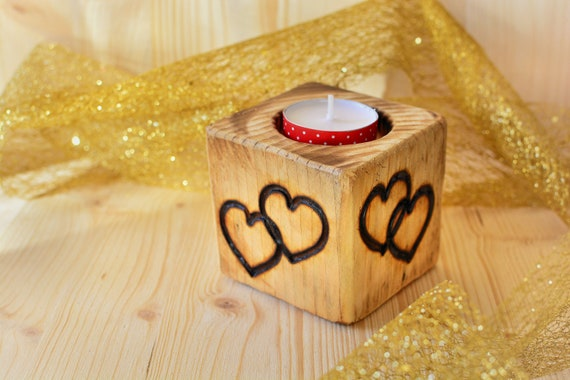 Love rustic wooden candle holder