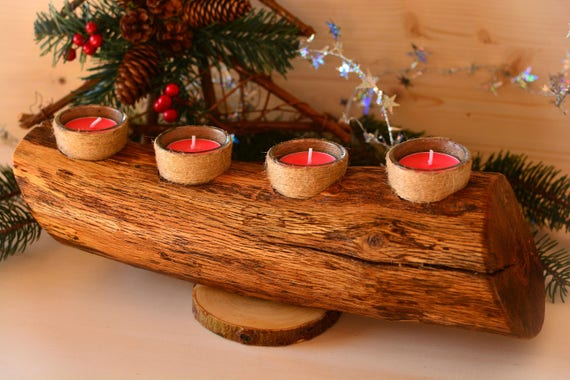 "Wooden rustic style ""Log"" candle holder."