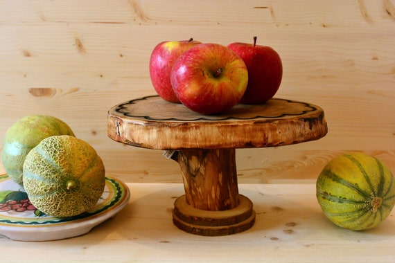 Rustic style wooden cake stand.