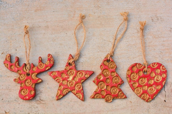 "Set of  4 polymer clay Christmas decorations ""Jolly red""."