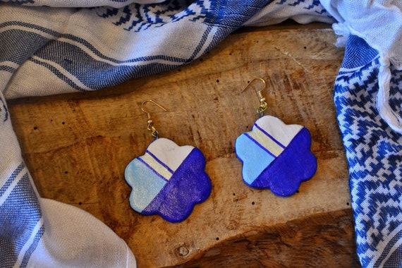 "Polymer clay ""Blue sea"" earrings."
