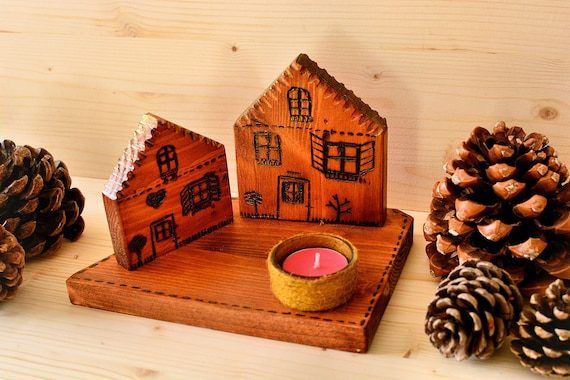 "Rustic/primitive style ""Village"" wooden candle holder."