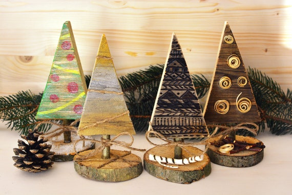 Decorative upcycled wood miniature Christmas trees.
