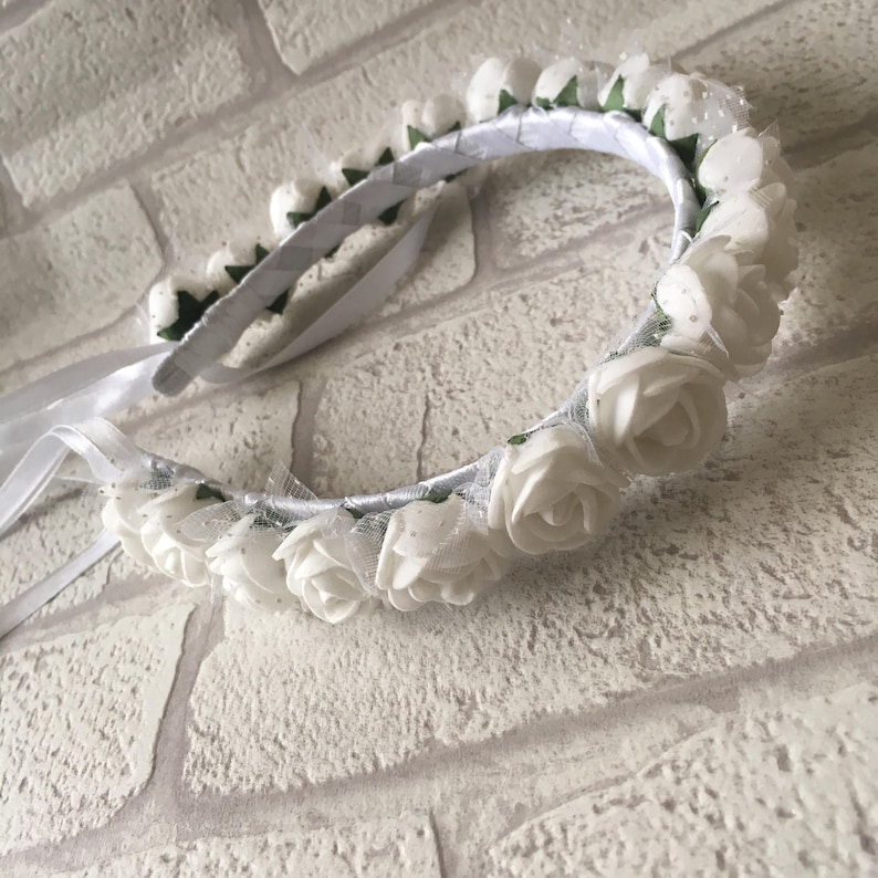 NARROW FABRIC HAIR ALICEBAND WITH WHITE FABRIC ROSES COMMUNION BRIDAL WEDDING