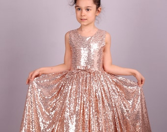 da3f873acf41 Blush Gold Rose Sequin Dress /Adult Sizes are Possible!/ Flower Girl  Sparkly Gold Princess Dress Pageant Graduation Junior Party Recital