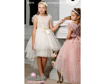 ad5b58ebf8 Ivory Flower Girl Dress First Communion High-Low Tulle Dress Bridesmaid Girl  Party Dress for Princess Satin Tutu Dress Party Girl Birthday