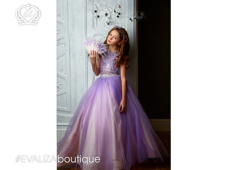 78cbdd88d44 Violet Two Pieces Ballgown Prom Dress Princess Gown Flower