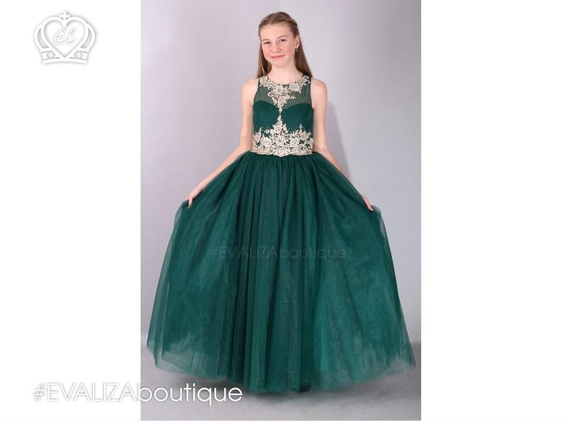 1fff8fa0e848 Gold Lace Forest Green girls Ballgown Emerald Green Flower | Etsy
