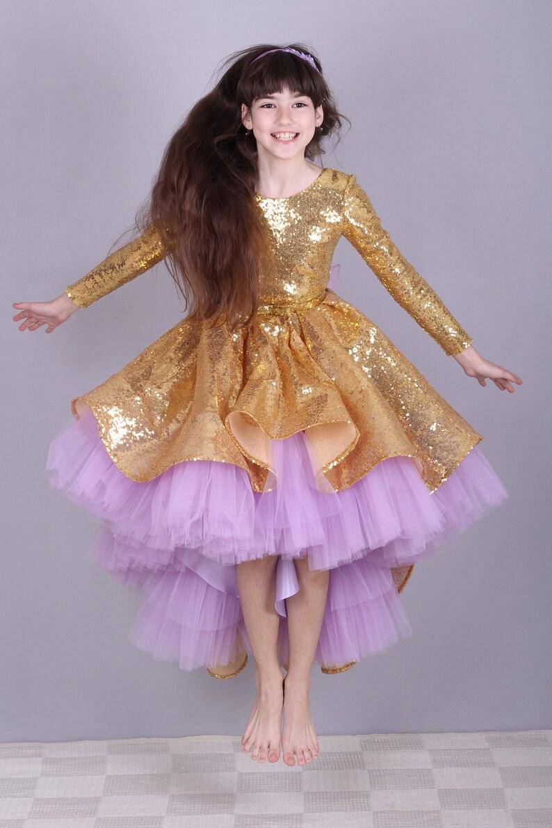 ac0f566ee Gold Sequin Flower Girls Dress High-Low Dress Violet tulle   Etsy