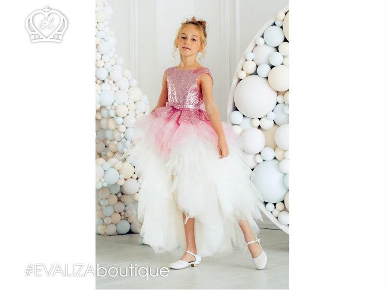2204d6c504d Pink Sequin Backless Flower Girls Dress High-Low Dress White