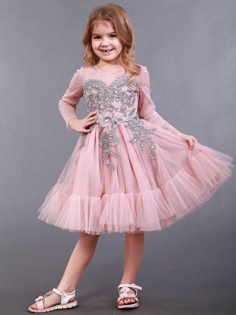 fd9e6b9c78 Pink Tutu Dress with Gray Lace SALE powder flower girl